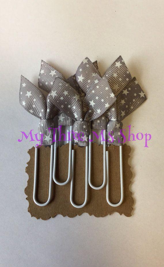 Grey Star Ribbon Bookmarks grey star binder clips by MyThreeMsShop