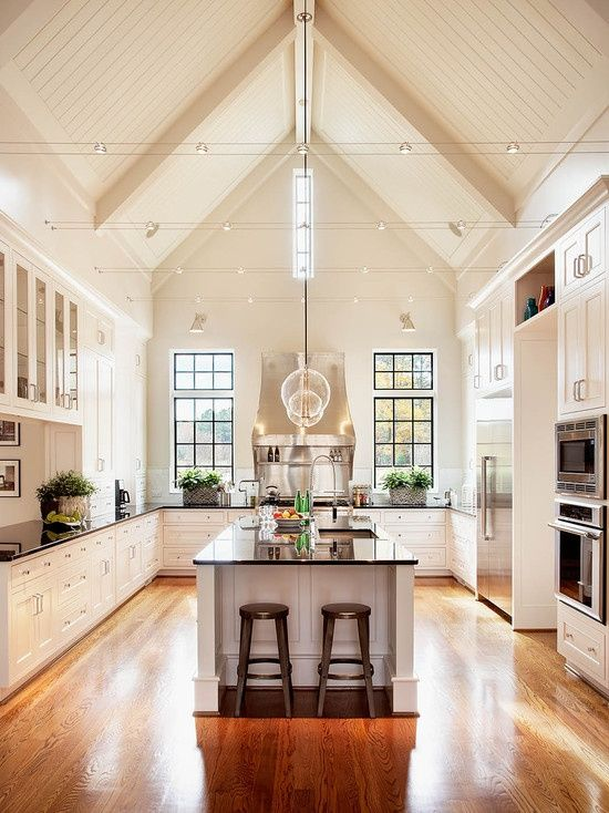 I love the large vaulted ceiling in the kitchen! I would love vaulted  ceilings above the kitchen and family room
