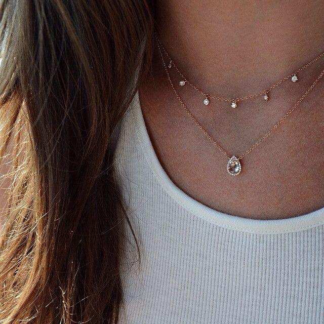14kt gold and six diamond drip necklace – Luna Skye by Samantha Conn