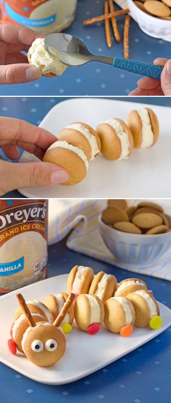 Every kid's favorite cute little bugger becomes a tasty ice cream treat with this kid-friendly recipe! It's simple: using Polar Cave  Vanilla ice cream and mini vanilla wafers, make a row of ice cream sandwiches for the body. Then, add M&M's® candies for feet, pretzels for antennae and finish everything off with candy eyes!