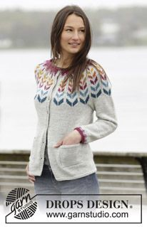 """Joyride Cardigan - Knitted DROPS jacket with round yoke and Nordic pattern in """"Karisma"""". Size: S - XXXL. - Free pattern by DROPS Design"""