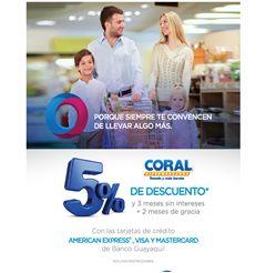 Aprovecha de los descuentos en Coral Hipermercados con tus tarjetas de crédito de Banco Guayaquil