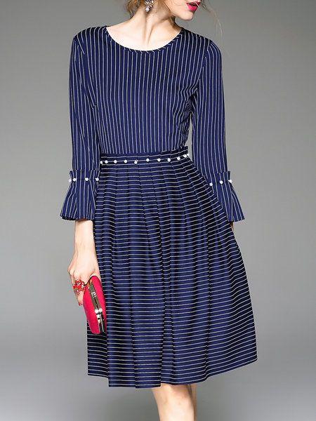 Shop Midi Dresses - Royal Blue Frill Sleeve Beaded Crew Neck A-line Midi  Dress · Ethnic FashionShift ...