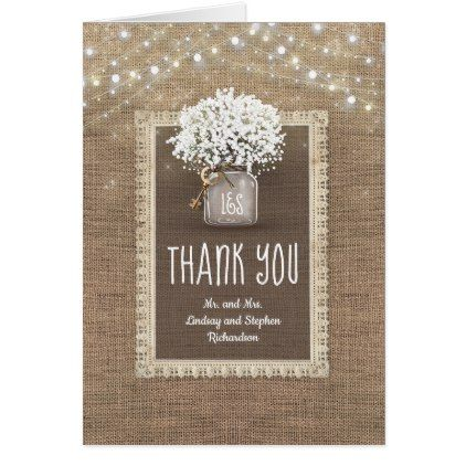 Baby S Breath Mason Jar Rustic Burlap Thank You In 2018 Lace