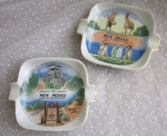 New Mexico Souvenir Ashtrays - tiny hand painted - great for holding small items.  One features the Monjeau Fire Lookout and the Continental Divide, the other features Pueblo Hoop Dancers.  The Monjeau Fire Lookout was built by the Civilian Conservation Corps in the early 40s