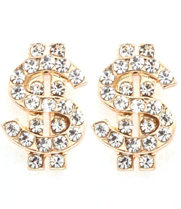 Joji Boutique - golden dollar sign post earrings,  (http://www.jojiboutique.com/products/golden-dollar-sign-post-earrings.html)