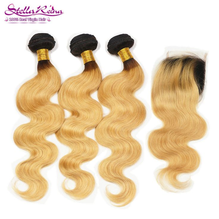 Dark Roots T1B/27 Blonde Ombre Hair Extensions 3 Bundles With Closure Color #27 Honey Blonde Brazilian Body Wave Remy Human Hair