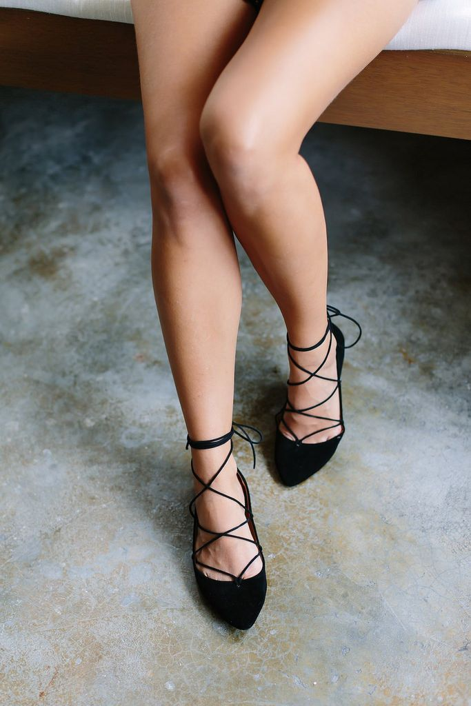 Lace up pointed flats DIY
