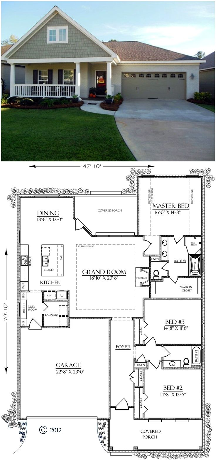 Bungalow Country Craftsman Southern House Plan 74755
