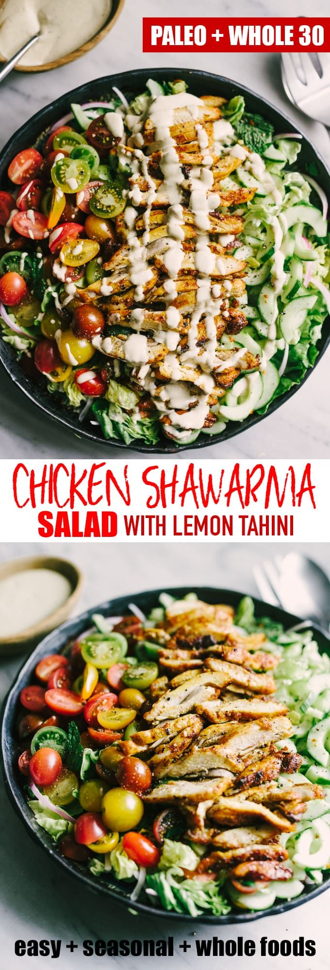 Chicken shawarma salad is an incredibly flavorful, fresh, and elegant weeknight paleo dinner. Each bite is crisp, bright and bursting with flavor. The marinade takes just minutes and can be prepped the night before, making for an easy and fast dinner. #paleo #shawarma #realfood #wholefood #whole30