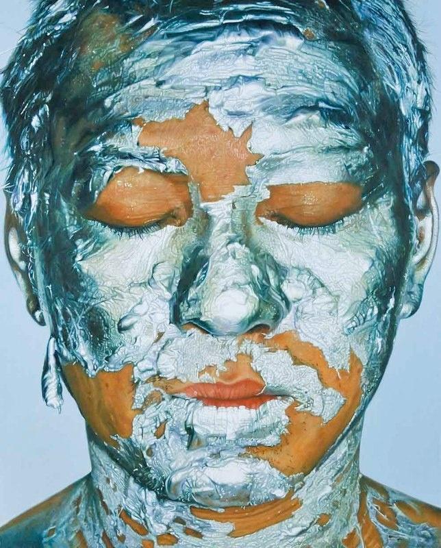 Silver Acrylic Paint on Face 1. 2009. 150x120 cm. Oil on canvas.