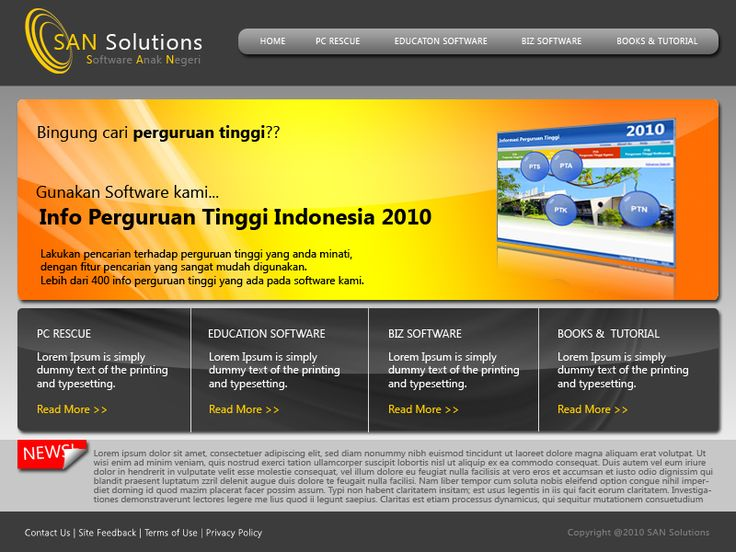 Website layout for PT. SAN Solutions