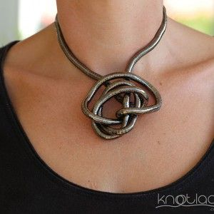 'Original' Knotlace or bendy necklace & accessory. Dark Silver or Gunmetal. - http://www.knotlace.com.au/ #style #fashion #accessory #jewellery #silveraccessory