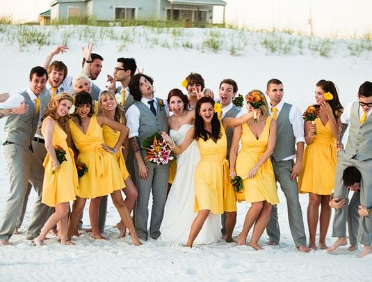 Yellow Bridesmaid Dresses Gray Weddings