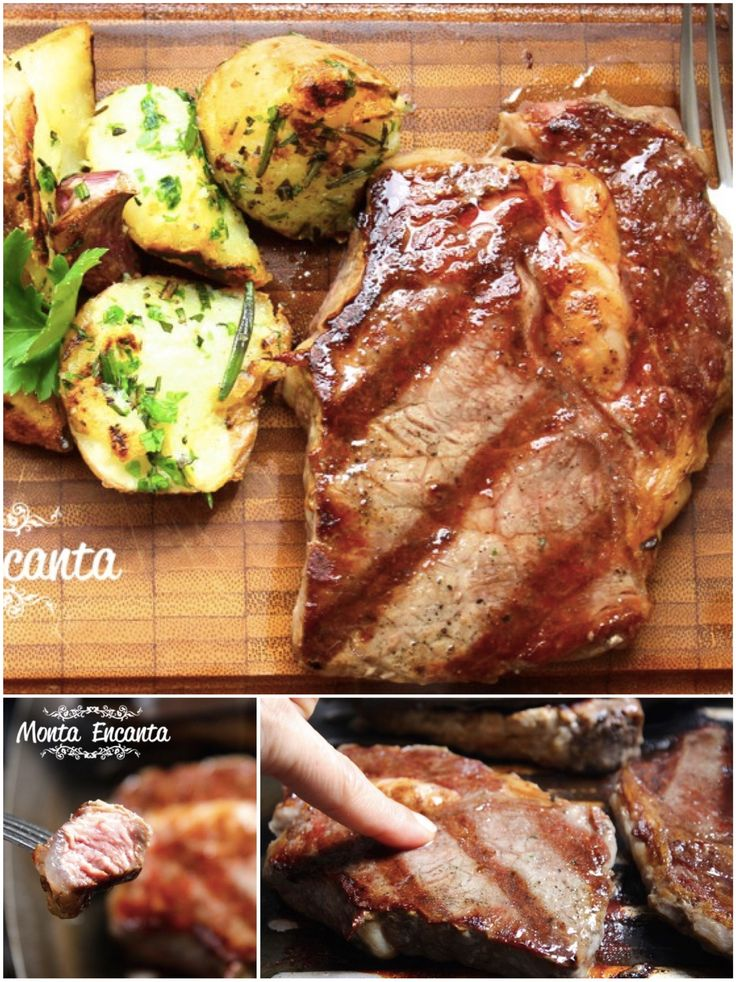 Bife de Ancho ao ponto, parte saborosa e suculenta do contra filet com batatas ao murro ... com passo a passo certo não tem erro!