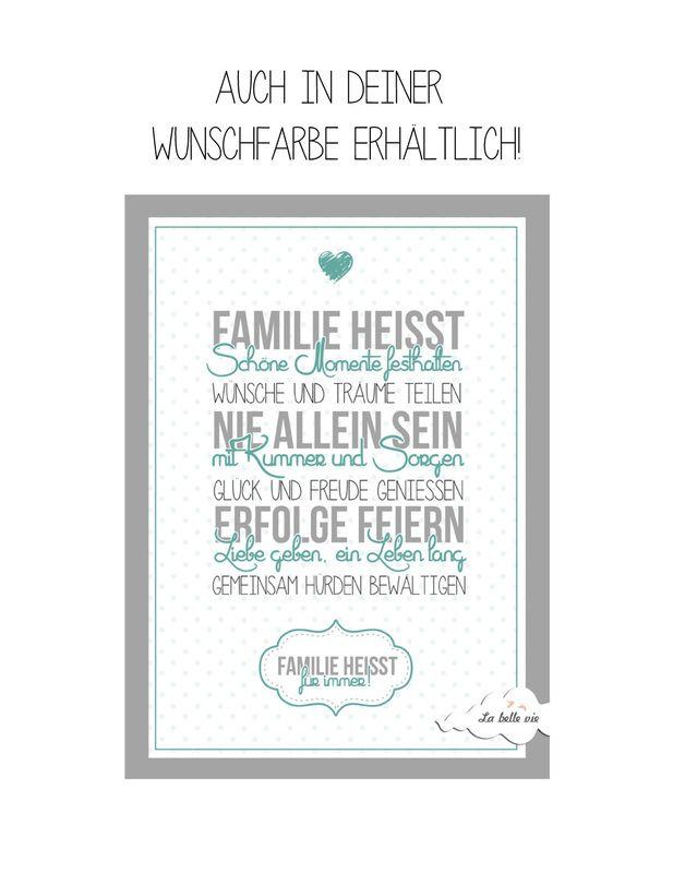 """Din A4 Print - """"Familie heißt"""""""