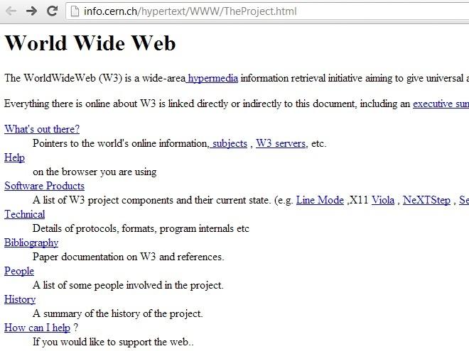 CERN restauró la página más vieja de la web, que cumple 20 años.