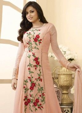 Affluent peach Coloured  Georgette Semi-Stitched Designer Salwar Suit