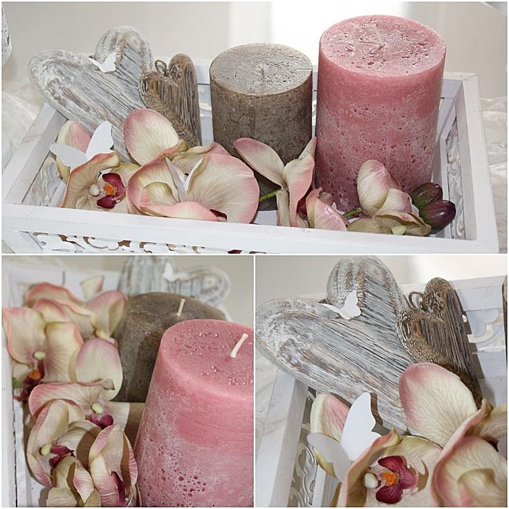 Holzherzen, Orchideen, rosa Frühlings Deko
