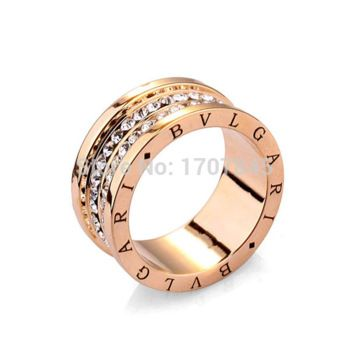 2015 New fashion women double layer crystal rings 3 colors 18k gold plated 316L rings