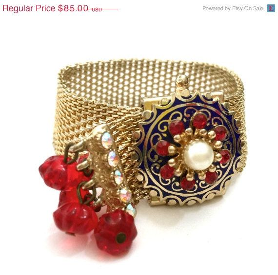 Kramer of New York Enamel and Gilt Mesh Bracelet by Vintageimagine