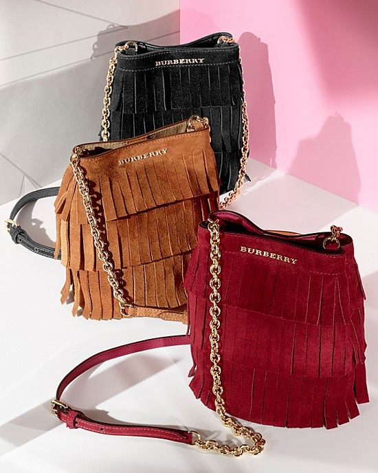 Burberry Fringe Suede Baby Bucket Bag