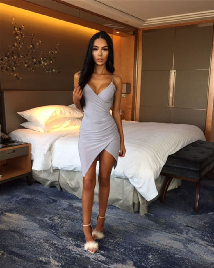 Sexy Body con Dress in Grey and Pink