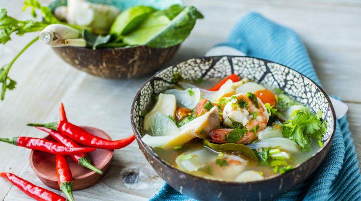 Sterk og syrlig thaisuppe med reker