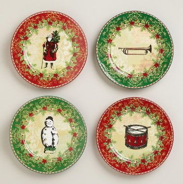 Victorian Christmas Plates, Set of 4 - traditional - holiday decorations - Cost Plus World Market