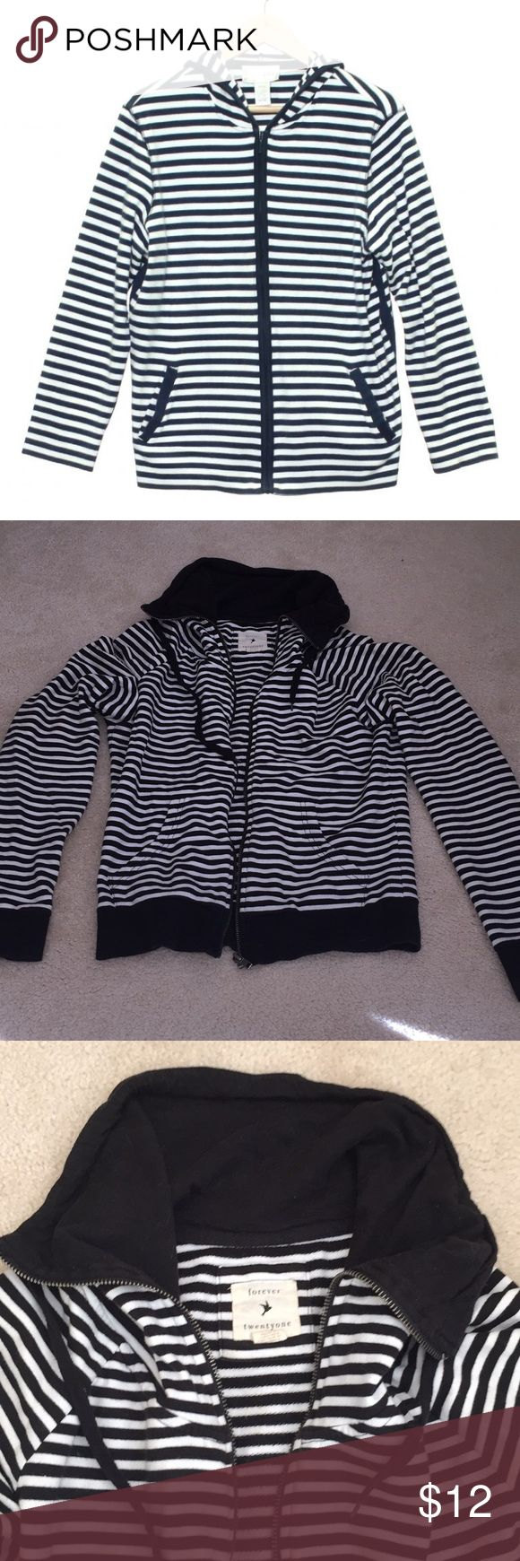 Black and white stripe zip up Stripe zip up. Pockets. First photo is a stock photo. Forever 21 Sweaters