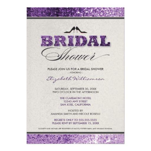 Glitter Bling Bridal Shower Invitation (purple)