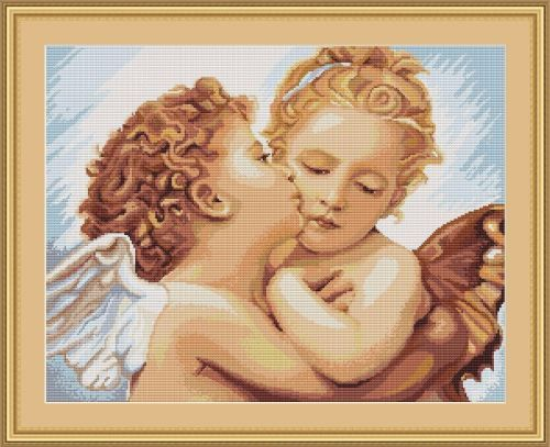 Cherubs First Kiss - Cross stitch kit based on the artwork of Raphael Sanzio - produced by Luca-S.