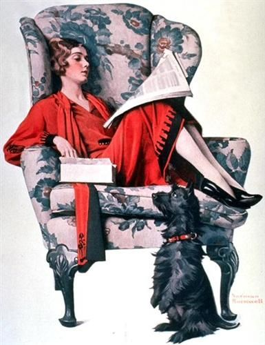 NORMAN ROCKWELL - art for Candy - June 27, 1925 The Saturday Evening Post  Gorgeous armchair! The fabric is stunning.