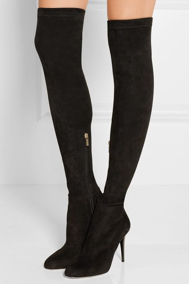 Size 41.5. Heel measures approximately 90mm/ 3.5 inches Black stretch-suede Zip fastening along side Made in Italy