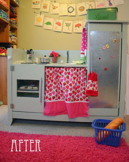 Changing table to play kitching.  Freaking awesome.: Turning Plays, Ideas, Baby Changing Tables, Kids Stuff, Playkitchen, Plays Kitchens, Diy, Kids Kitchens, Play Kitchens