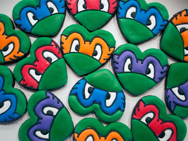 Teenage Mutant Ninja Turtle Heart Cookies - Semi Sweet Designs
