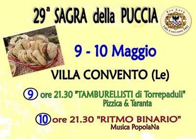 #Sagra della #Puccia, la 29^ edizione - 2015 sabato 9 e domenica 10 maggio 2015 Villa Convento - #Novoli (Le)