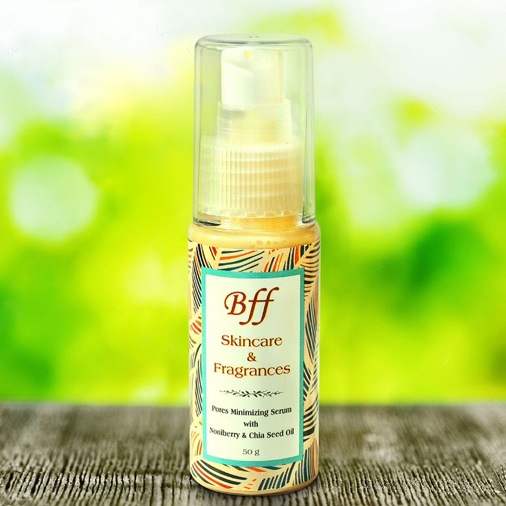 Powerful Serum helps tighten your skin and minimizes pores because of natural Noni Berry, Chia Seed and Vitamin E content. #bffskincare #naturalskincare #noniberry #chiaseedoil #poresminimizingserum