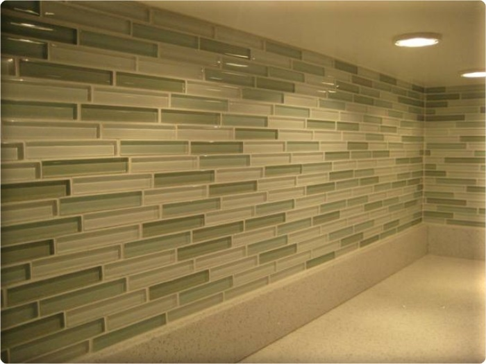 Attractive Glass Tile Backsplash Kitchen