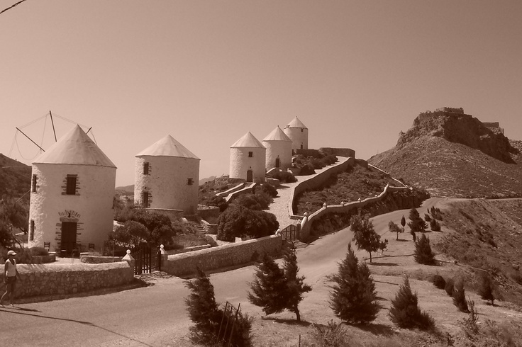 Windmills... an impossible challange. By Don Quijote. - Leros island (Greece)