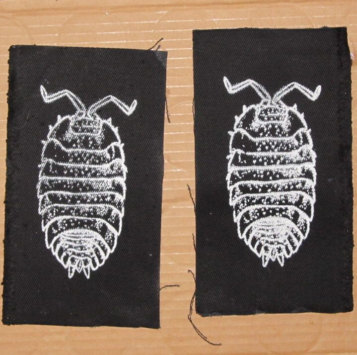 Pill Bug Patch -  White on Black - insect bug critter punk patches, roly poly. potato bug, wood louse, arthropod, animal, anarchy, science by phoenixcompost on Etsy https://www.etsy.com/listing/93115230/pill-bug-patch-white-on-black-insect-bug