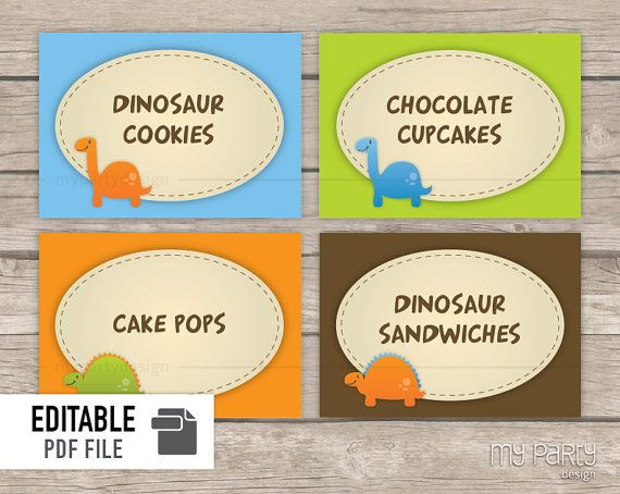 Dinosaur Party PRINTABLE Food Labels / Place by mypartydesign