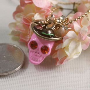 Pink skull with  bow and hat necklace pendant diy bling phone deco  | chriszcoolstuff - Craft Supplies on ArtFire
