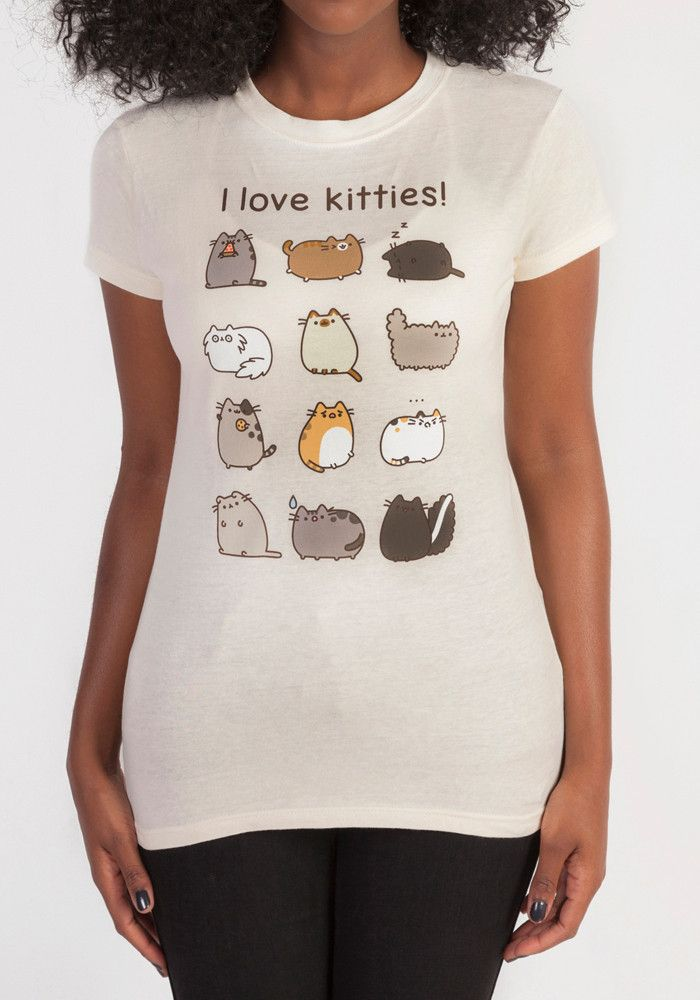 "Tell the world just how much you love cats. Especially Pusheen! This juniors tee features 12 different Pusheen cats and the words ""I love kitties!""."