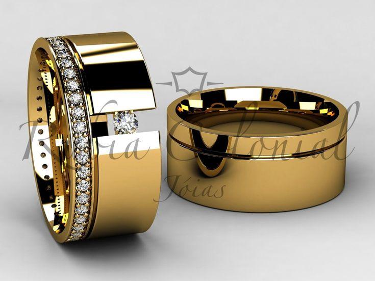 Aliança De Luxo - Ouro 18k. - Diamantes Casamento Luxo - R$ 5.490 ...