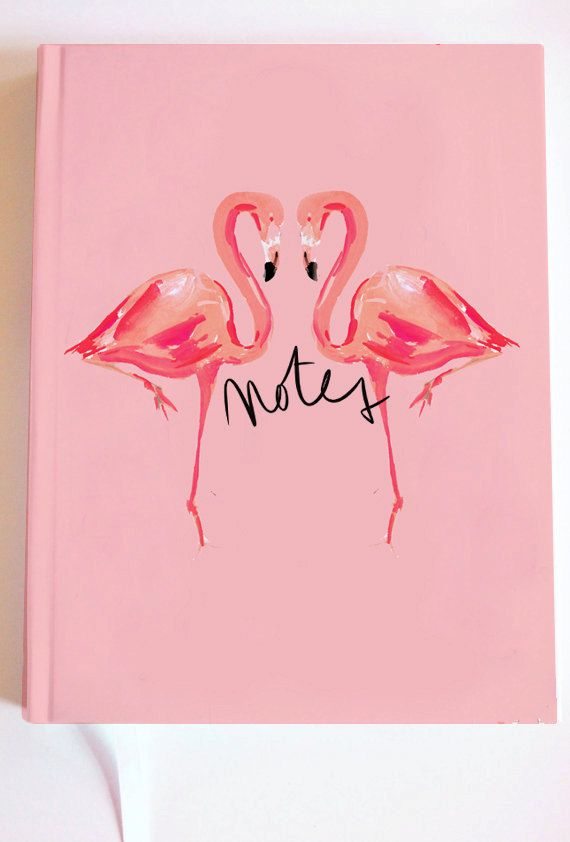 Illustrated Journal /Notebook: Flamingo Kiss by AThingCreated