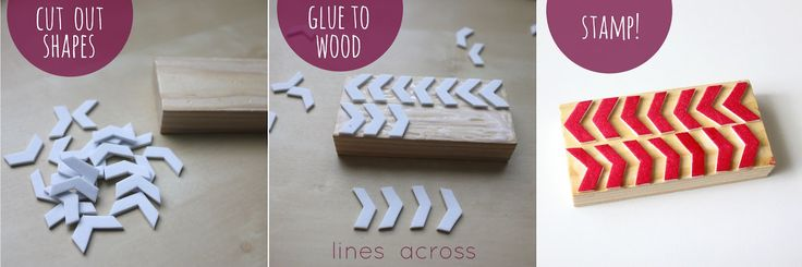 """""""Lines Across"""": Make Your Own Stamps ...... 1.Craft foam sheets 2.Glue+Scissors  3.Small wooden block 4.Ink"""