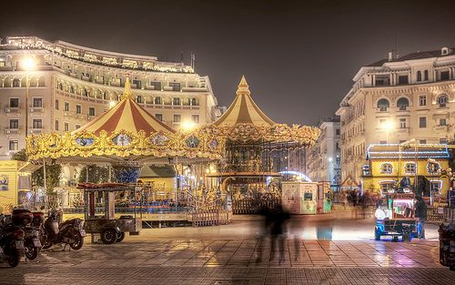 Aristotelous Sqaure at Night and Christmas, Thessaloniki, Greece