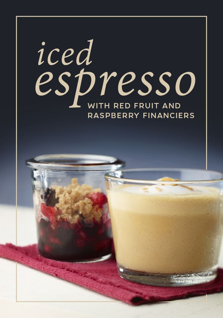 Start your morning off on a sweet note with this Iced Espresso recipe from Nespresso, complete with Red Fruit and Raspberry Financiers. Iced Roma Grand Cru gets a burst of fresh flavor thanks to a red currant and strawberry purée. Ground almonds and a drizzle of golden honey in the Raspberry Financiers provide a sweet complement.