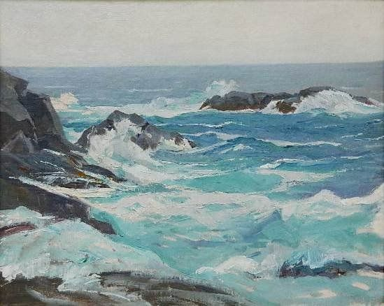 """""""Monhegan Coastal View,"""" George G. Adomeit, oil on canvasboard, 6.3 x 7.9"""", private collection."""